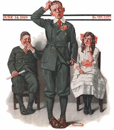 The June 14, 1919 Saturday Evening Post cover by Norman Rockwell entitled The Valedictorian