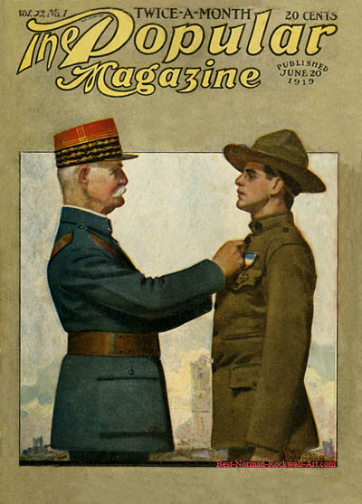 American Soldier and French General by Norman Rockwell appeared on Popular Magazine cover June 20, 1919