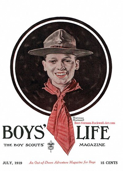 Norman Rockwell cover for Boys' Life appearing July 1919 entitled Head of a Boy Scout