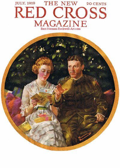 Soldier and Girl with Letter From the Red Cross by Norman Rockwell appeared on Red Cross cover July 1919