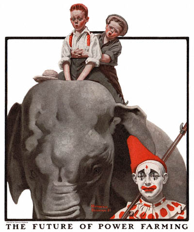 The Country Gentleman from 8/16/1919 featured this Norman Rockwell illustration, Two Boys on an Elephant