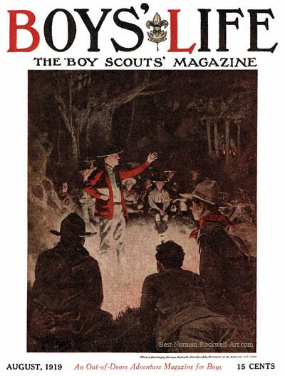 Norman Rockwell cover for Boys' Life appearing August 1919 entitled Straight Talks from the Scoutmaster