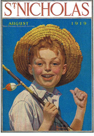 Boy with Fishing Pole by Norman Rockwell appeared on St. Nicholas cover August 1919