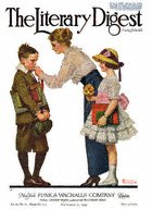 Norman Rockwell's Mother Sending Children Off to School from the September 6, 1919 Literary Digest cover