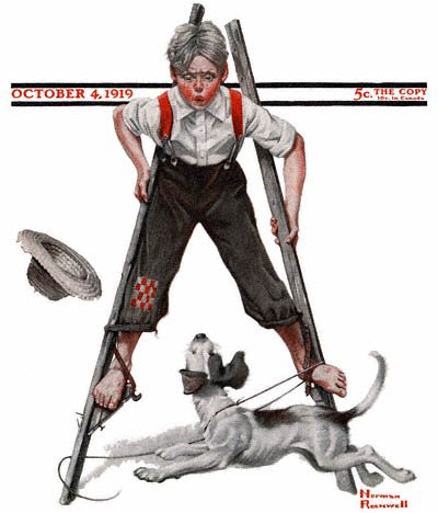 The October 4, 1919 Saturday Evening Post cover by Norman Rockwell entitled Boy on Stilts