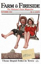 Norman Rockwell's Boy and Girl Swinging from the October 1919 Farm And Fireside cover