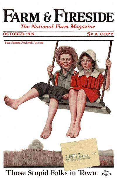 Boy and Girl Swinging by Norman Rockwell appeared on Farm And Fireside cover October 1919