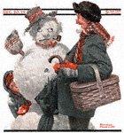 Grandfather and Snowman from the December 20, 1919 Saturday Evening Post cover