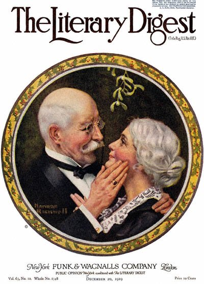 Under the Mistletoe by Norman Rockwell from the December 20, 1919 issue of The Literary Digest