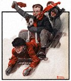 Norman Rockwell's Four Boys On a Sled from the December 27, 1919 Country Gentleman cover