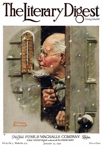 Man Reading Thermometer by Norman Rockwell from the January 17, 1920 issue of The Literary Digest