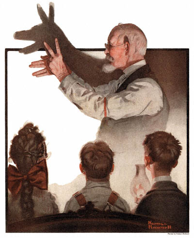 The Country Gentleman from 2/7/1920 featured this Norman Rockwell illustration, Shadow Artist