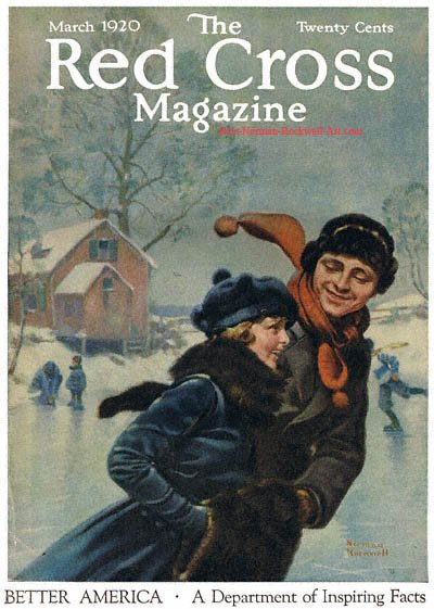Couple Ice Skating by Norman Rockwell appeared on Red Cross cover March 1920