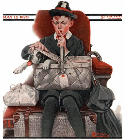 The May 15, 1920 Saturday Evening Post cover by Norman Rockwell entitled Boy with Dog in Picnic Basket