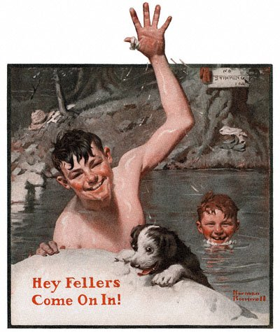 Norman Rockwell's 'Hey Fellers, Come On In' or 'Swimming Hole' appeared on the cover of The Country Gentleman on 6/19/1920
