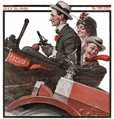 The July 31, 1920 Saturday Evening Post cover by Norman Rockwell entitled Trio in Early Motor Car