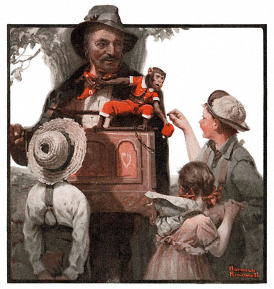 Norman Rockwell's 'The Organ Grinder' appeared on the cover of The Country Gentleman on 7/31/1920