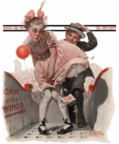 The August 28, 1920 Saturday Evening Post cover by Norman Rockwell entitled Cave of the Winds