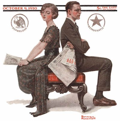 The October 9, 1920 Saturday Evening Post cover by Norman Rockwell entitled Woman and Man Seated Back to Back