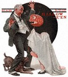 Grandfather Frightened by Jack-O-Lantern from the October 23, 1920 Saturday Evening Post cover