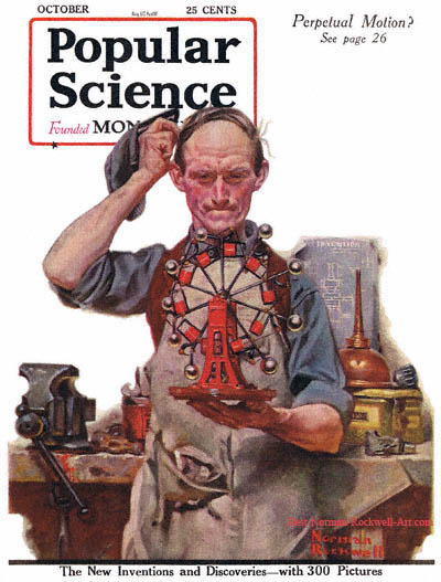 Perpetual Motion by Norman Rockwell appeared on Popular Science cover October 1920