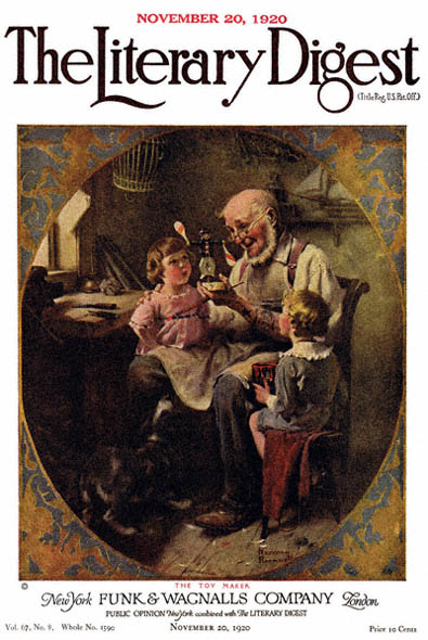 The Toy Maker by Norman Rockwell from the November 20, 1920 issue of The Literary Digest