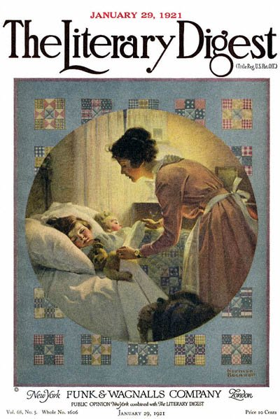 Mother Tucking Children into Bed or Mother's Little Angels by Norman Rockwell from the January 29,1921 issue of The Literary Digest