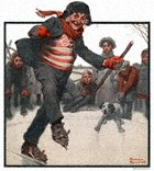 Norman Rockwell's Gramps Skating from the February 19, 1921 Country Gentleman cover