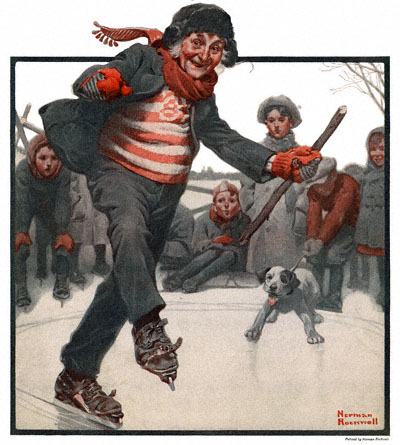 The Country Gentleman from 2/19/1921 featured this Norman Rockwell illustration, Gramps Skating