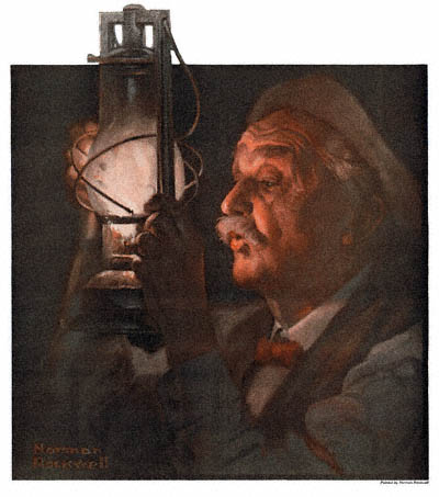 The Country Gentleman from 4/23/1921 featured this Norman Rockwell illustration, Man with Lantern