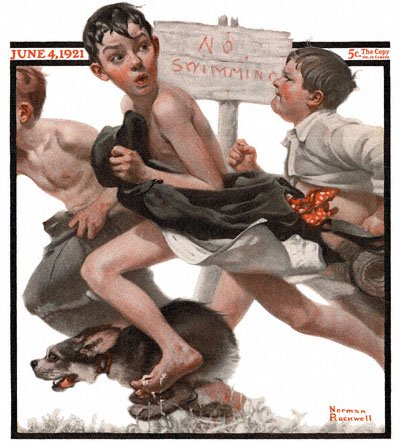 The June 3, 1921 Saturday Evening Post cover by Norman Rockwell entitled 'No Swimming'