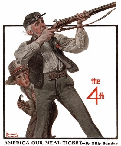 The Country Gentleman from 7/2/1921 featured this Norman Rockwell illustration, Old Veteran and Boy