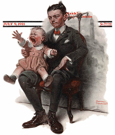 The July 9, 1921 Saturday Evening Post cover by Norman Rockwell entitled Boy Holding Screaming Baby