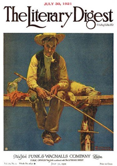 Man on Dock Fishing by Norman Rockwell from the July 30, 1921 issue of The Literary Digest