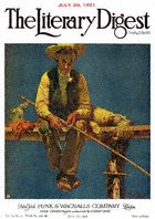 Norman Rockwell's Man on Dock Fishing from the July 30, 1921 Literary Digest cover