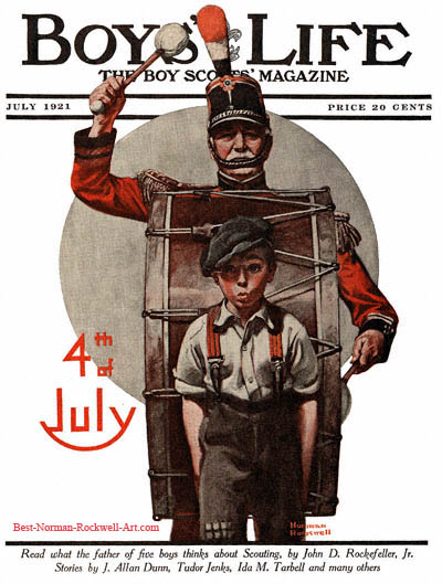 Norman Rockwell cover for Boys' Life appearing August 1919 entitled Fourth of July