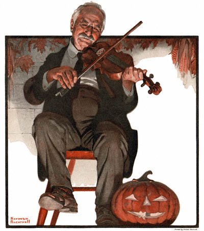 The Country Gentleman from 10/22/1921 featured this Norman Rockwell illustration, Man Playing Violin