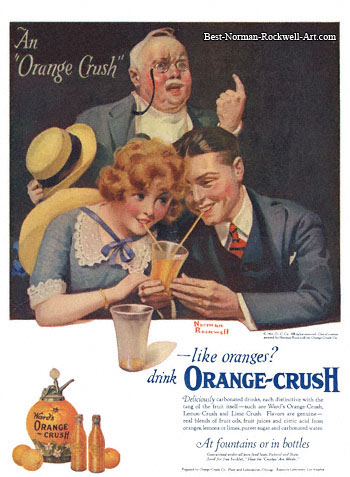 Orange Crush advertisement by Norman Rockwell entitled An Orange Crush