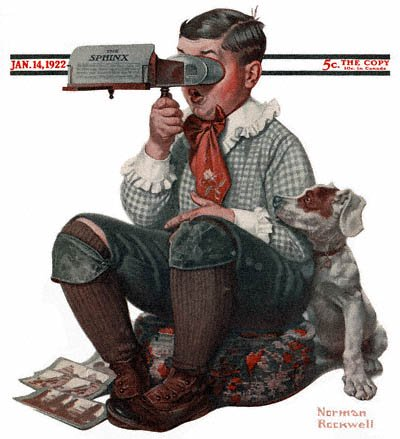 The January 14, 1922 Saturday Evening Post cover by Norman Rockwell entitled Boy with Stereoscope