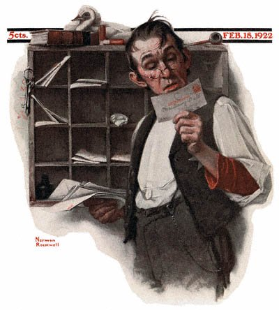 The February 18, 1922 Saturday Evening Post cover by Norman Rockwell entitled Postman Reading Mail