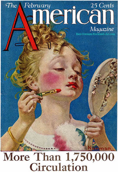 Little Girl with Lipstick by Norman Rockwell, American Magazine cover February 1922