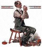 Man Threading a Needle from the April 8, 1922 Saturday Evening Post cover