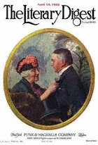 Norman Rockwell's Woman Pinning Boutonniere on Man from the April 15, 1922 Literary Digest cover
