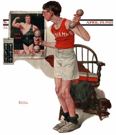 The April 29, 1922 Saturday Evening Post cover by Norman Rockwell entitled Boy Lifting Weights