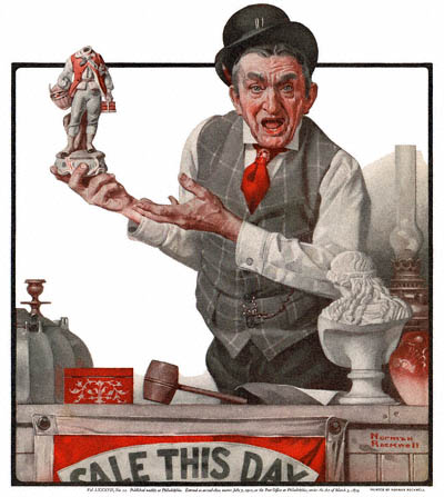 The Country Gentleman from 4/29/1922 featured this Norman Rockwell illustration, The Auctioneer