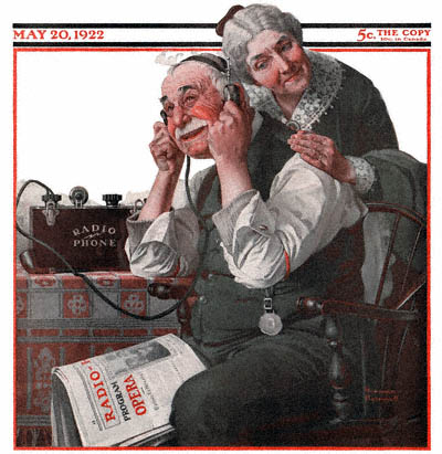 The May 20, 1922 Saturday Evening Post cover by Norman Rockwell entitled Old Couple Listening to Radio