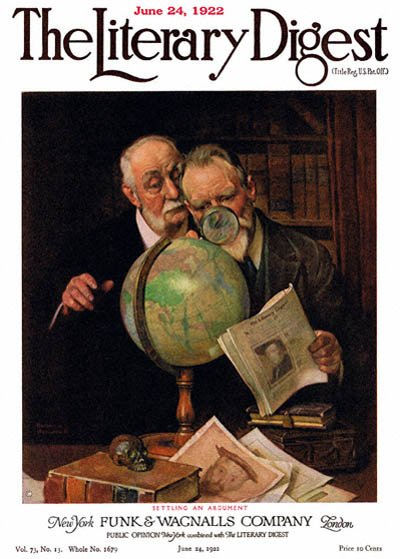 Settling an Argument or Two Men Consulting the Globe by Norman Rockwell from the June 24, 1922 issue of The Literary Digest