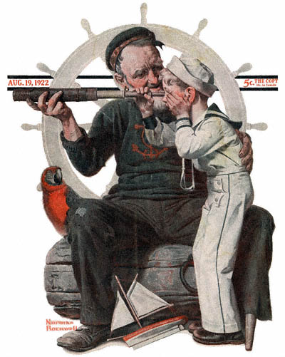 The August 19, 1922 Saturday Evening Post cover by Norman Rockwell entitled Boy Looking Through Telescope