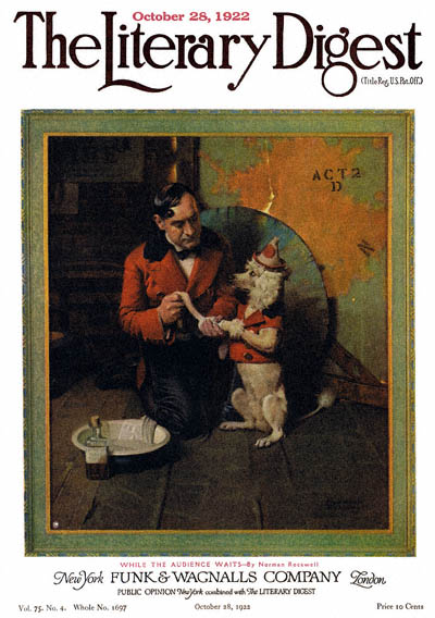 While the Audience Waits by Norman Rockwell from the October 28, 1922 issue of The Literary Digest