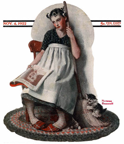 The November 4, 1922 Saturday Evening Post cover by Norman Rockwell entitled Maid with Movie Magazine